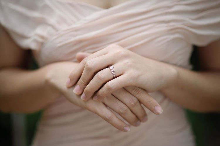 Midsection of bride with ring
