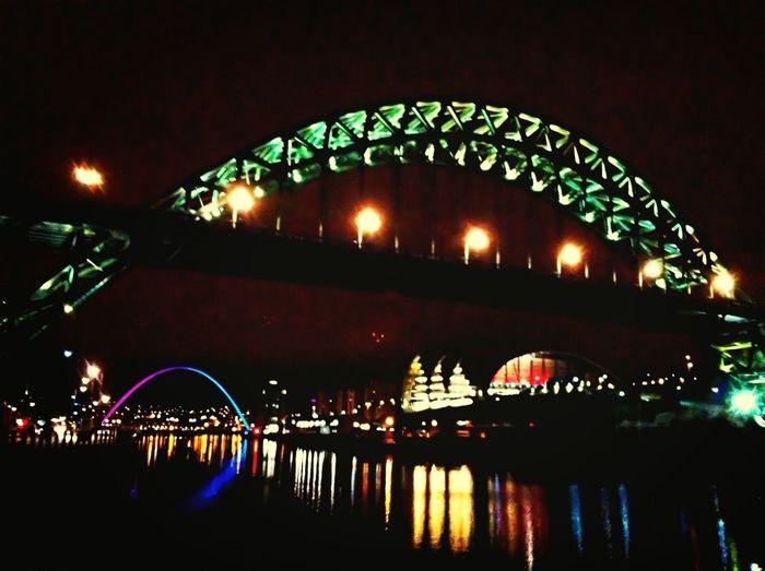 River Bridge Night Lights Newcastle Upon Tyne