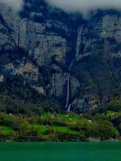 Switzerland Glarus Walensee Waterfall Theothersideofthelake Hanging Out Taking Photos Relaxing Mountains Landscapes Lake Enjoying Life