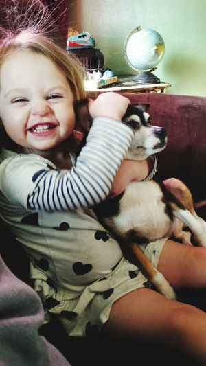 Portrait Of Cute Smiling Girl Stroking Dog While Sitting On Sofa At Home