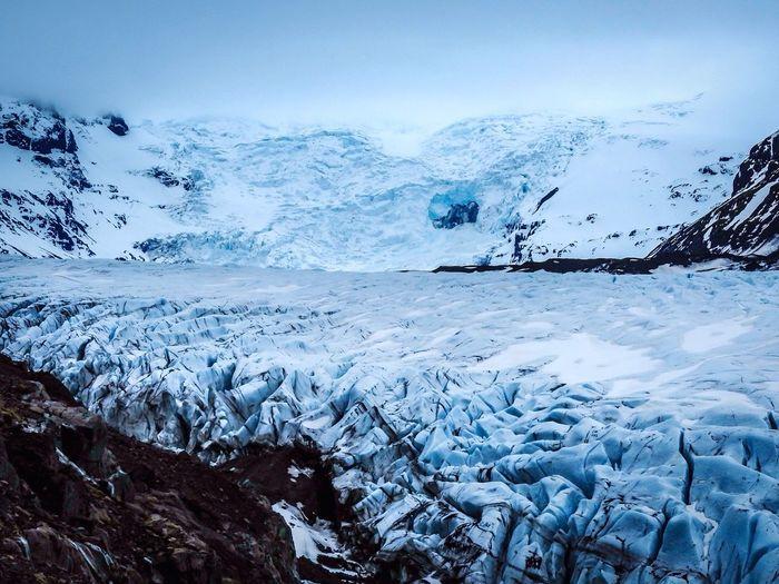 Scenic view of vatnajokull against sky