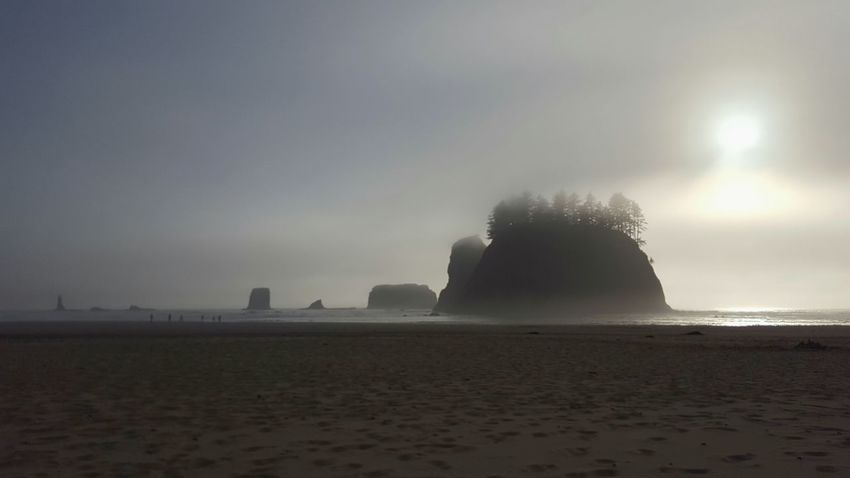 Beach Ocean Shore Sand Landscape Landscapes Olympic Peninsula Calm Moody Weather Fog Foggy Gray Day Melancholic Landscapes Tranquil Scene Black And White Sihlouettes Rock Formations Outcropping Nature Photography Outdoor Photography Beach Photography The Great Outdoors - 2017 Moody Faded Dim Light