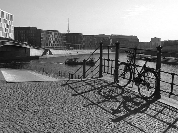 Built Structure Bicycle Building Exterior Architecture Transportation Day Outdoors Mode Of Transport Sky City Land Vehicle No People Light And Shadow Berliner Ansichten IPhoneography Street Photography Monochrome Photography Monochrome Black & White Bnw Black And White Blackandwhite Blackandwhite Photography B&W Magic Streetphotography