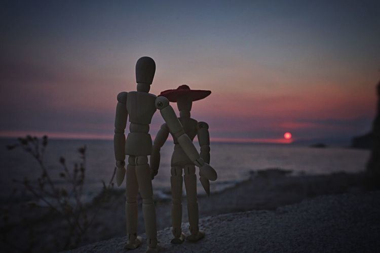 Woody and Twiggy at the sunset Love Scene Scenics Horizon Over Water Sea And Sky Sunset Water Beauty In Nature Woodyforest Human Representation Love Landscape Montenegro Outdoors Travel Destinations