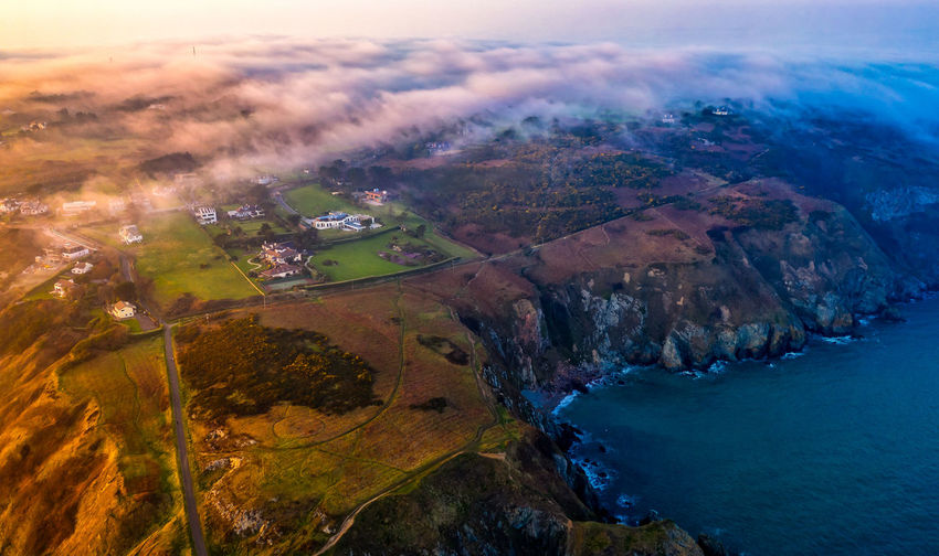 Scenics - Nature Tranquil Scene Landscape Sky Water Nature Cloud - Sky High Angle View Drone  Foggy Day Mavic 2 Pro DJI X Eyeem Seascape Seascape Photography Sea Sunset Sunset_collection The Traveler - 2019 EyeEm Awards The Great Outdoors - 2019 EyeEm Awards