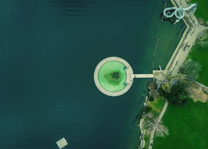 High angle view of water against clear sky