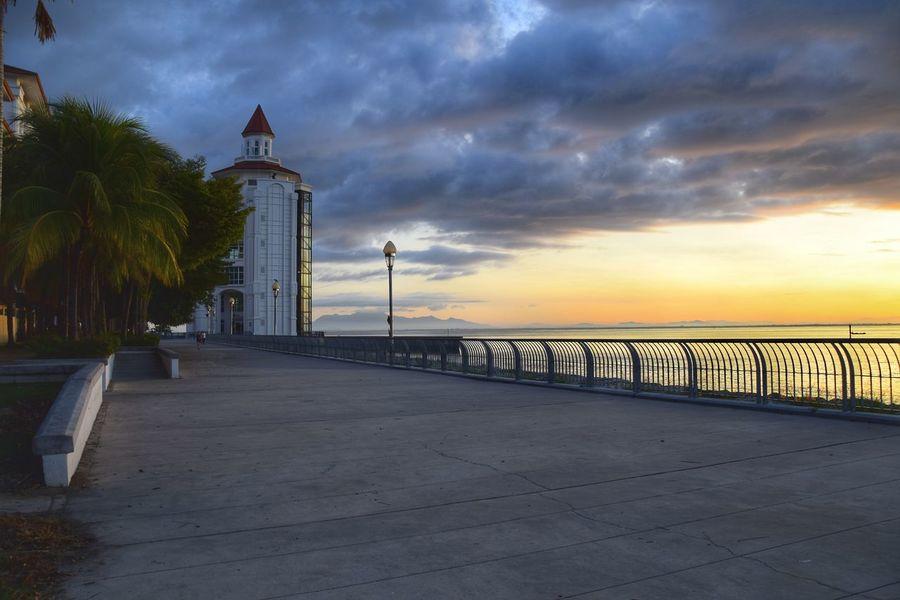 Sunrise over Straits Quay marina. Pathway Sunrise Water Sea Urban Skyline Sky Calm Dramatic Sky Shore