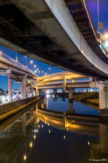 Reflecting water Reflection Nightphotography Night View 首都高 首都高速 Olympus Olympus Om-d E-m10 Junction ExpressHighway Tokyo