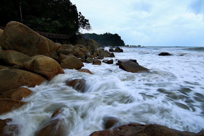 Monsoon Season Waves And Rocks Beach Photography Landscape Rock - Object Beauty In Nature Beach No People Sea Motion Outdoors Wave Sky Day Nature