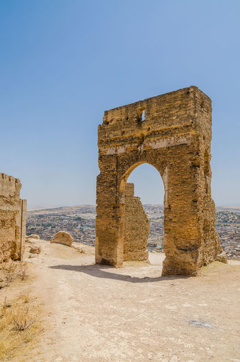 Famous Ruins Of Marinid Tombs Overlooking Historic City Of Fez, Morocco, North Africa