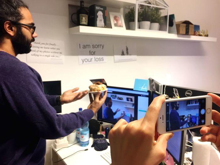 Close-up of man using smart phone