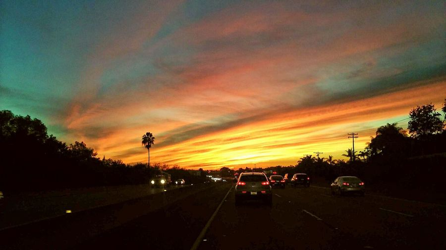 Highway, sunsets, cars