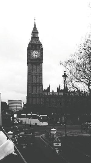 Big Ben London Clock Black And White Black & White Bus Ride My Favorite Place
