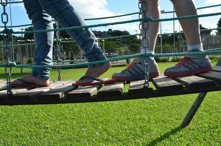 Feet Walking Around Fun Kids Shoes Bridge Square Playground