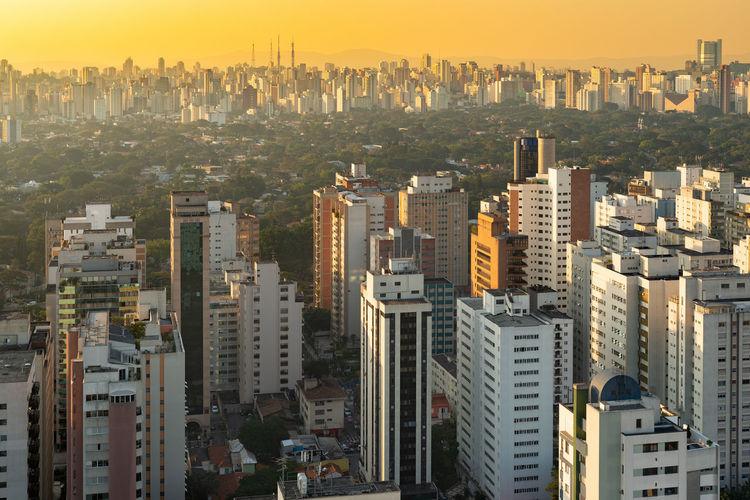 Skyline of sao paulo at sunset, brazil, south america