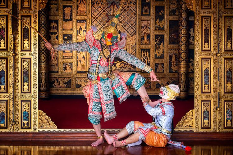 Art culture Thailand Dancing in masked khon in literature ramayana,Thai classical monkey masked, Khon,Thailand Real People Full Length Women Adult Lifestyles People Art And Craft Two People Leisure Activity Clothing Sitting Creativity Togetherness Indoors  Architecture Built Structure Females Representation Dancing Front View Stage