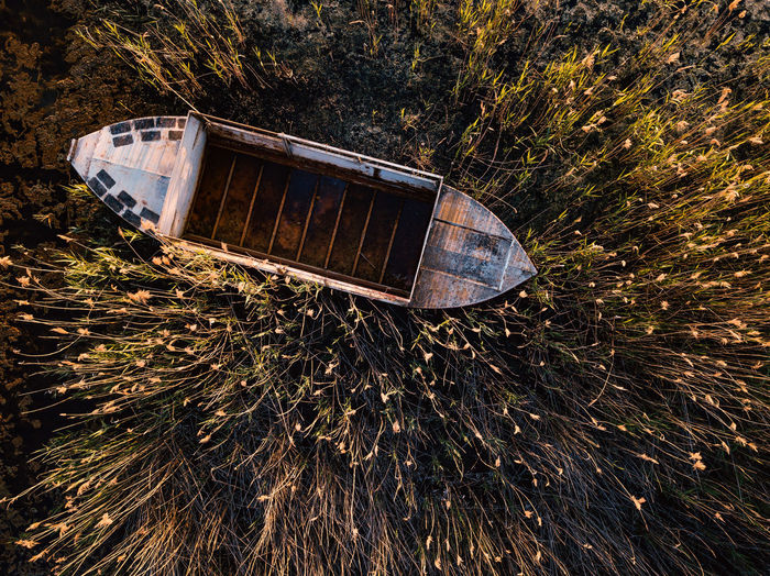 High angle view of abandoned boat amidst plants on field