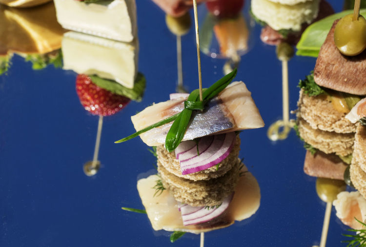 Canapes and snacks served on a platter
