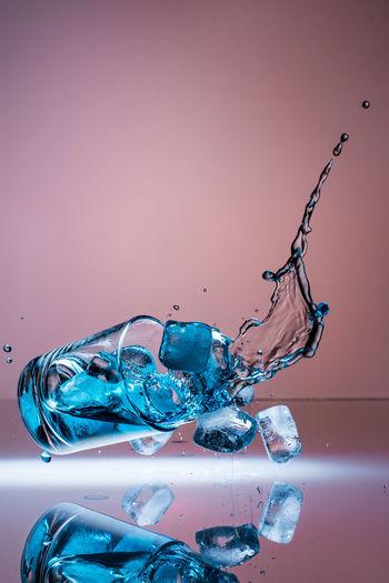 Glass Drink Fall Down Blue Emotions Vertical Barkeeper Splashing Drop Studio Shot High-speed Photography