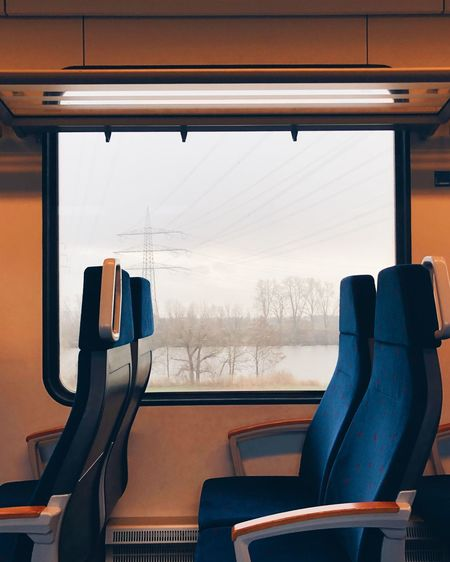 Train rides EyeEm Selects Window Vehicle Interior Glass - Material Transparent Mode Of Transportation Transportation Indoors  Train Seat Empty Train - Vehicle No People Public Transportation Travel Vehicle Seat Absence Rail Transportation Passenger Train