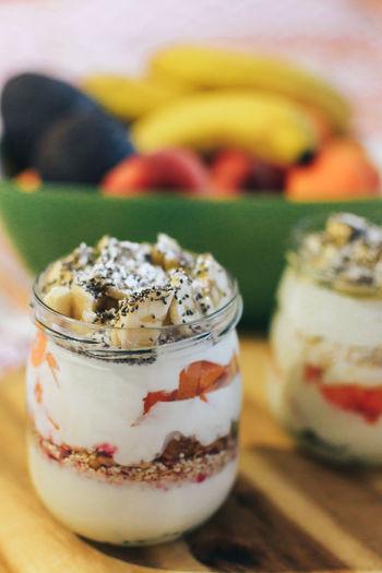Close-up of vegan dessert on table, overnight oats