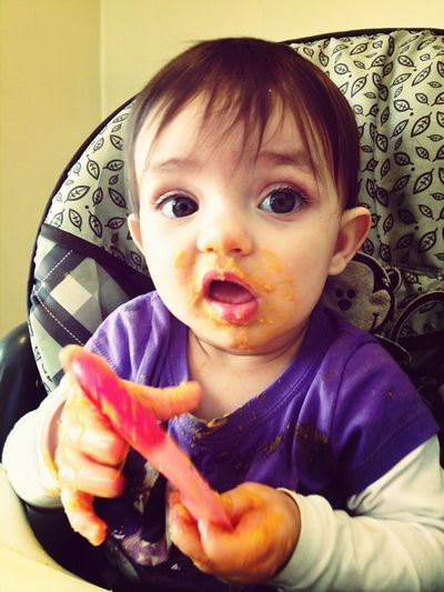 Feeding Herself For The First Time!:)