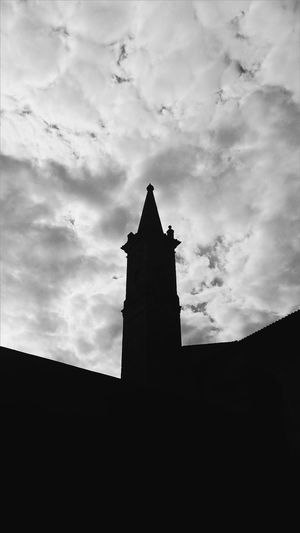 Santagata Budrio Silhouette Architecture Built Structure Building Exterior Low Angle View Sky Outline Cloud - Sky Dark Cloud Outdoors Cloudy Culture No People Spire  Black And White High Section Atmospheric Mood Cloudscape TakeoverContrast Monochrome Photography