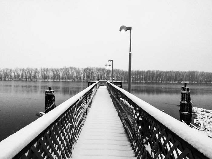 Snow Doc Railing The Way Forward Outdoors Street Light Bridge - Man Made Structure Day Water Nature Sky