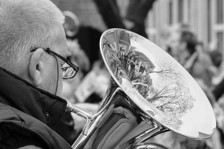 Tuba Musical Instrument Streetphotography Street Photography Streetphoto One Person Netherlands EyeEm Best Shots Week On Eyeem My Point Of View EyeEm Selects EyeEm Gallery The Week On EyeEm EyeEmNewHere Week Of Eyeem Mypointofview EyeEm The Week Of Eyeem Black And White Friday Blackandwhitephotography Blackandwhite Black And White Photography Blackandwhite Photography Reflections People Photography