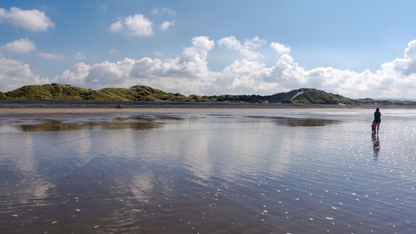 Scenes from Ynyslas Beach near Aberystwyth on August Bank Holiday 2016. Aberystwyth Beach Beach Photography Beautiful Scenery Blue Sky Cardigan Bay Clouds And Sky Mother And Child Ocean Reflections In The Water Scenic Scenics Sea Seascape Seascape Photography Shoreline Tranquil Scene Wales Water Waves, Ocean, Nature Ynyslas