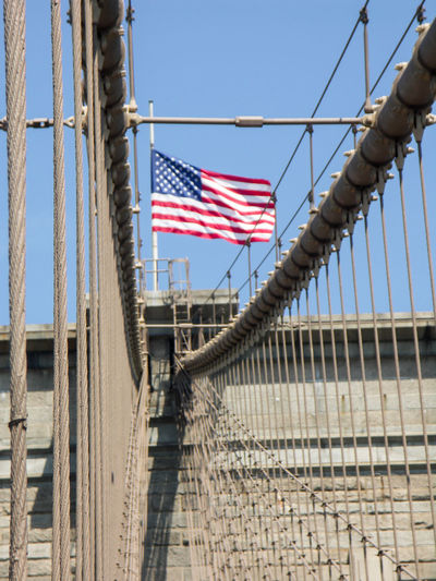 Brooklyn Bridge / New York USA USA FLAG Architecture Built Structure Day Flag Low Angle View Manhatan No People Outdoors Patriotism Stars And Stripes Striped