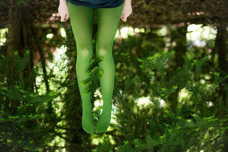 Low section of woman with feet up by plants