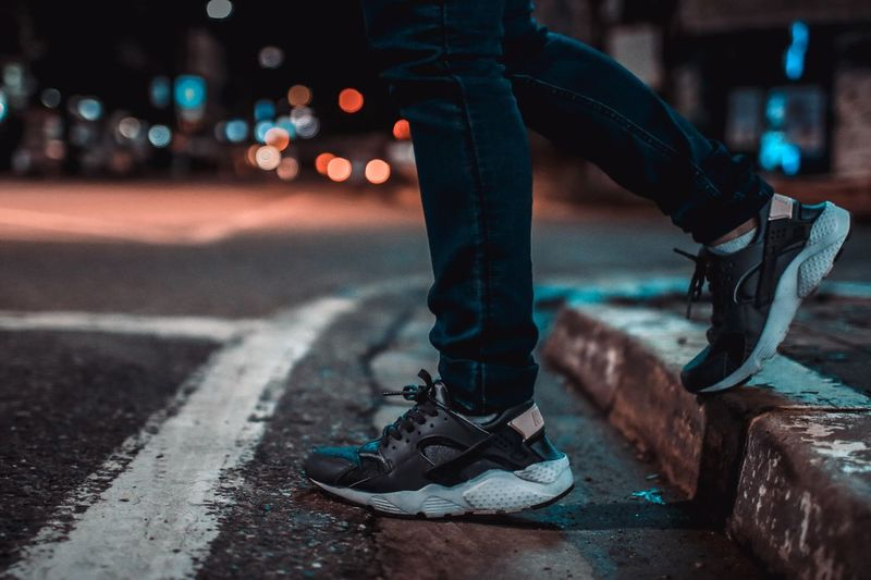 Street view Sneakers Street Photography Streetphotography Street Best Of EyeEm Transportation City Street Night Close-up Road Focus On Foreground No People Illuminated Safety Sign Outdoors Mode Of Transportation Motion Single Object Bicycle Security Land Vehicle Wheel Nature