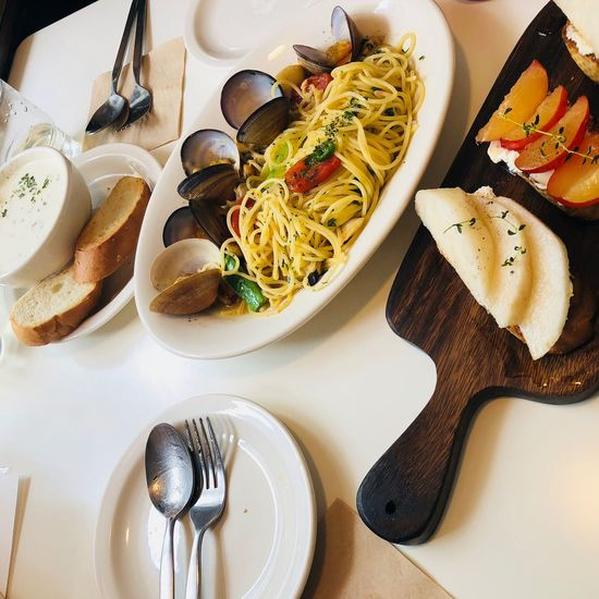 It was a first special day Dinner Lunch Plum Oil Pasta Pasta Streotype Of Busan Seomyeon Busan,Korea Busan Jeonpodong EyeEm Selects Food Food And Drink High Angle View Indoors  Freshness Table Plate Healthy Eating Ready-to-eat Meal Vegetable