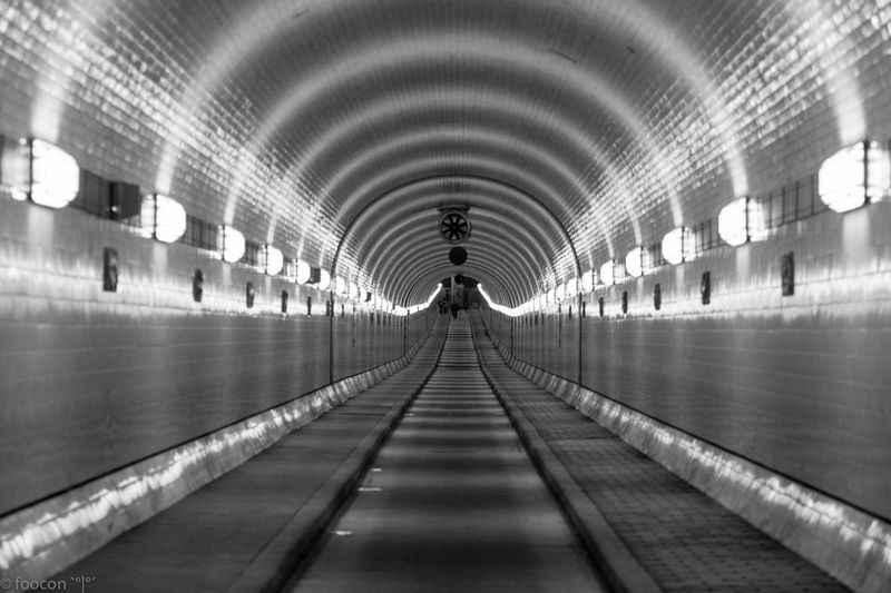 Illuminated empty tunnel