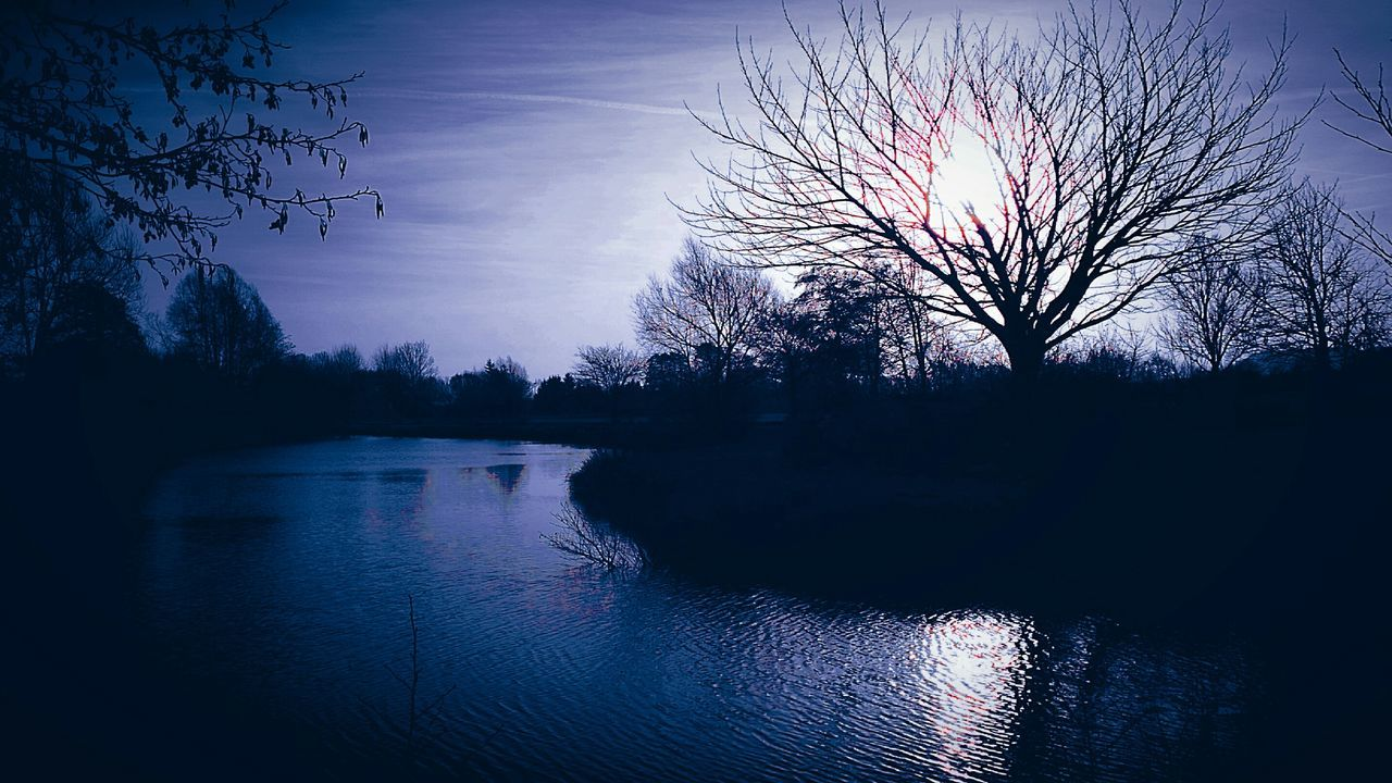 bare tree, tree, reflection, tranquil scene, nature, beauty in nature, water, tranquility, sky, silhouette, scenics, lake, no people, sunset, branch, outdoors, day