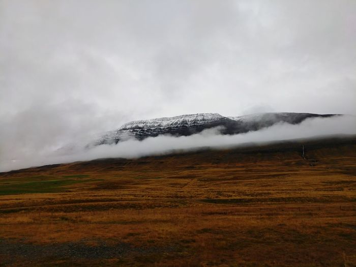 Fog Low Clouds Iceland Icelandic Landscape Northern Iceland September Rural Scene Snow Mountain Landscape Sky Cloud - Sky Snowcapped Cold Temperature Weather Condition