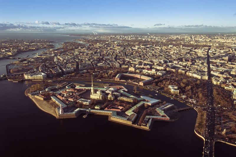 Aerial View Of Peter And Paul Cathedral With Cityscape