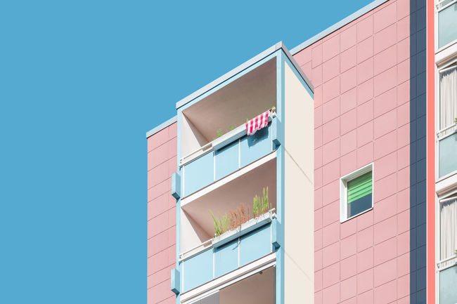 Afternoon Sun Architecture_collection Bright Pastel Power Sunlight Apartment Archidaily Architectural Detail Architecture Balcony Building Exterior Built Structure Clear Sky Day Light And Shadow Low Angle View No People Outdoors Pastel Sky