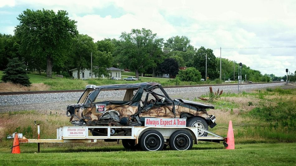 "I think a better slogan would be ""the reason you are in a hurry can not be as important as you think it is."" Message Trainwreck Check This Out Smashed Roadside America"