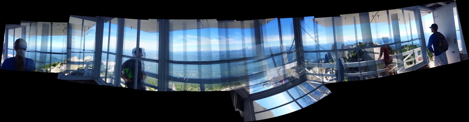 Abstract & Imperfect Panorama inside the Mt. Pilchuck mountaintop lookout. Autostitch Northwestisbest