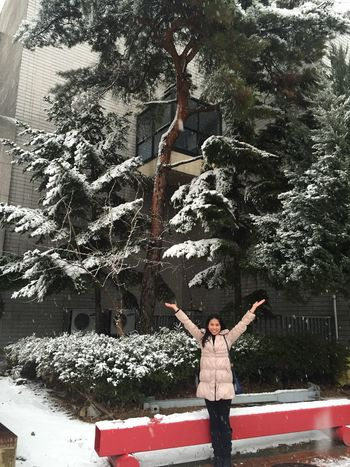 Winter Winter Fashion Adventure Arms Raised Coat Cold Temperature Day Leisure Activity Lifestyles Nature Snow Snow Flakes Tree Young Women The Week On EyeEm
