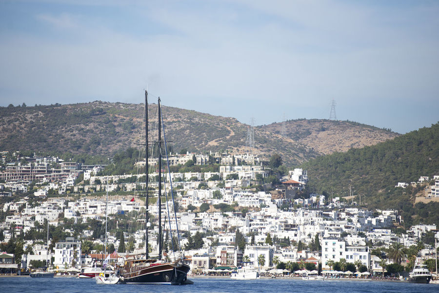 Bodrum Gulet Architecture City Cityscape Gulet Boat Mountain Nautical Vessel No People Outdoors Sea Sky Town Water Waterfront