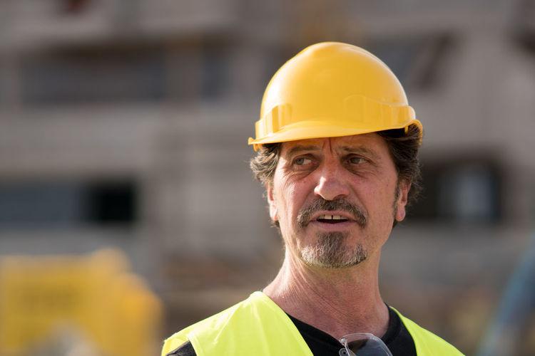 Close-up of engineer wearing hardhat