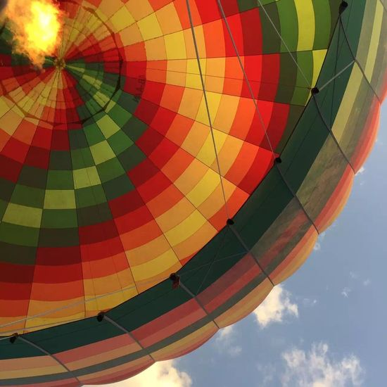 hot air balloon(* ̄︶ ̄) Colorful Hot Air Balloon Multi Colored Low Angle View Cultures Sky Cloud - Sky Outdoors Red Decoration Cloudy Day Flying No People Adventure