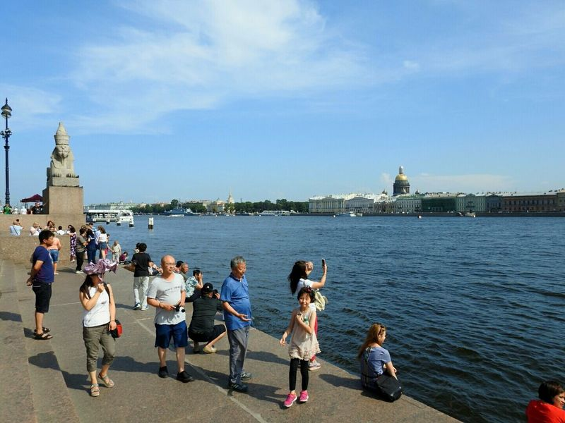 Neva River Tourists From China Relaxing Enjoying Life Eyeem Photo Embankment Sunny☀ Summer2016 People Together Best City In The World My City, My Life Sankt-peterburg Russia Sphynx