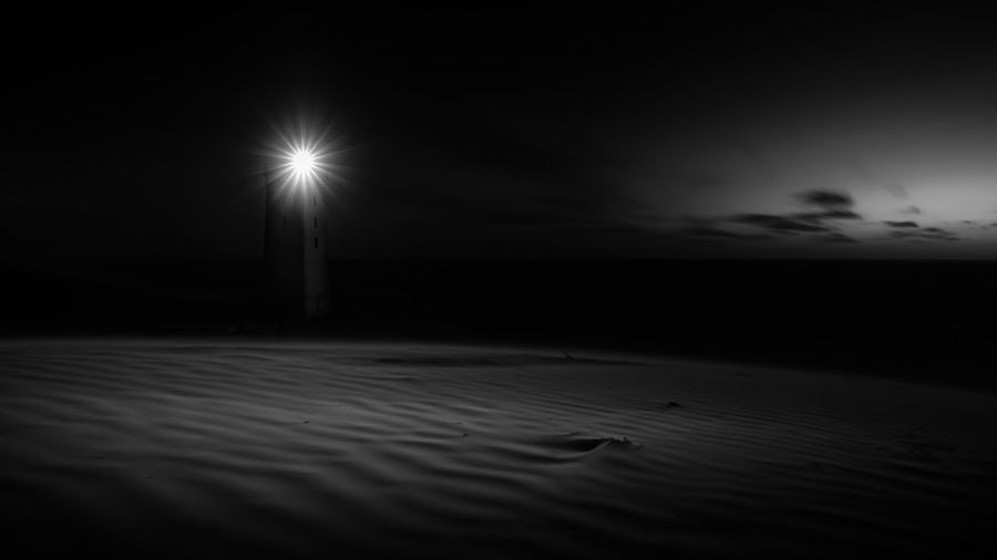 Denmark Dänemark EyeEmNewHere Lighthouse Rubjerg Knude Beach Beauty In Nature Blackandwhite Illuminated Moon Moonlight Nature Night No People Outdoors Sea Sky Water