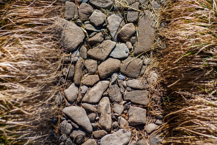 High angle view of rocks on field