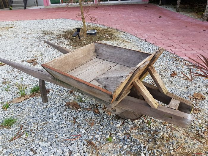 traditional wooden handmade trolley Trolley Trolley Cart Carpentry Carpentry Work Antique Childhood Close-up