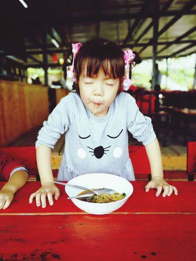 One Girl Only Children Only Sitting Eatting Time Yummy Yummy Girl